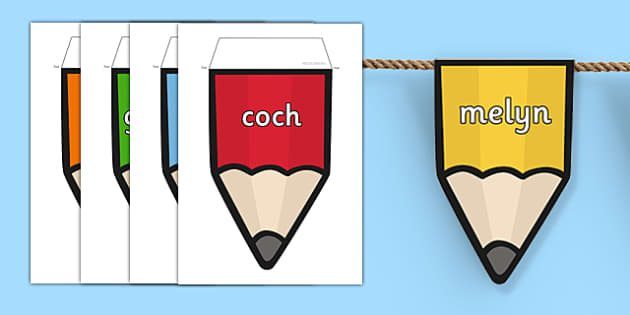 Welsh Colours on Pencils Bunting - welsh, colours, bunting, display