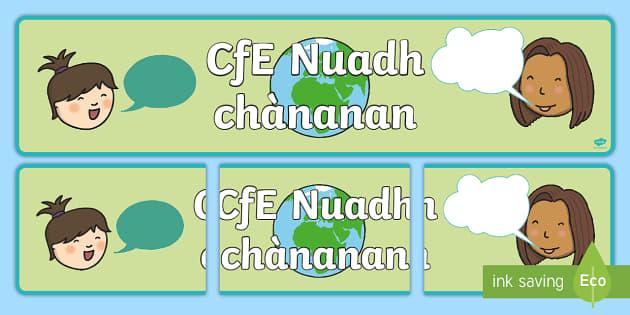 Modern Language Classroom Displays : Cfe nuadh chànanan modern languages display banner topic