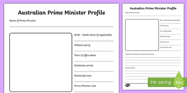 Australian Prime Minister Profile Research Activity Sheet-Australia