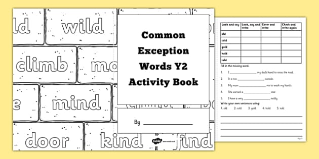 Common Exception Words Year 2 Activity Book - national curriculum, english, literacy, spelling, revision, homework