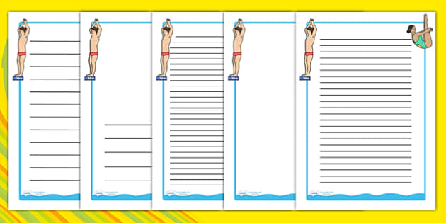 The Olympics Diving Page Borders - Diving, Olympics, Olympic Games, sports, Olympic, London, 2012, page border, border, writing template, writing aid, writing, activity, Olympic torch, events, flag, countries, medal, Olympic Rings, mascots, flame, co