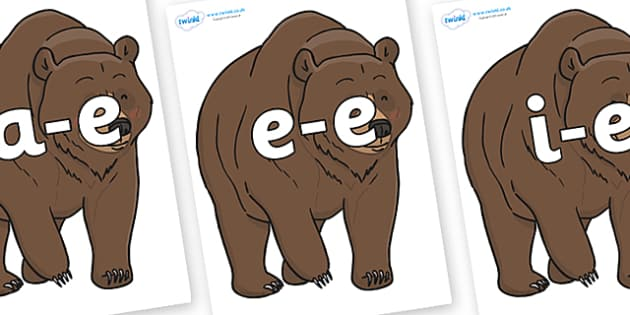 Modifying E Letters on Bear - Modifying E, letters, modify, Phase 5, Phase five, alternative spellings for phonemes, DfES letters and Sounds