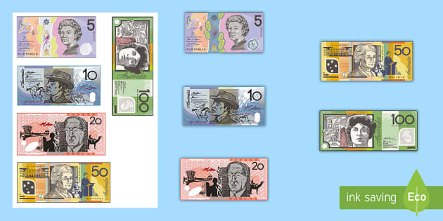 Australian Notes Cut-Outs - Australian currency, money, notes, coins, Australian curriculum, maths, ACMNA034, australian coins,