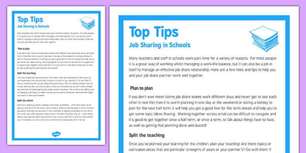 Top Tips for Job Sharing in Schools - top tips, job, sharing, schools