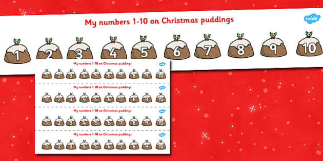 1-10 on Christmas Puddings Number Strips - xmas, Christmas,  Maths, Math, number track,  Numberline, Number line, Counting on, Counting back, counting, space
