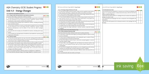 AQA Chemistry Unit 4.5 Energy Changes Student Progress Sheet - Student Progress Sheets, AQA, RAG sheet, Unit 4.5 Energy Changes