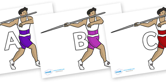 A-Z Alphabet on Javelin - A-Z, A4, display, Alphabet frieze, Display letters, Letter posters, A-Z letters, Alphabet flashcards