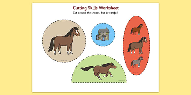 Horses and Ponies Cutting Skills Worksheet - cutting skills, horses
