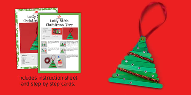 Lolly Stick Christmas Tree Craft Instructions - christmas