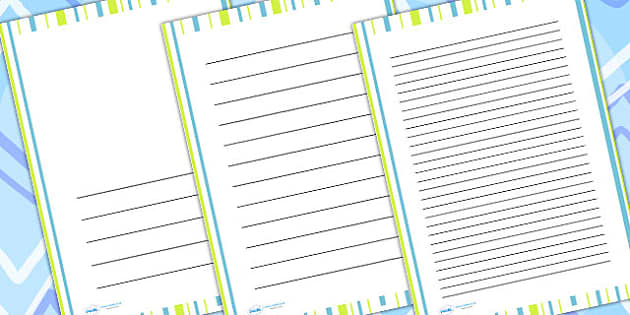 Green Stripe Page Borders - writing templates, writing border