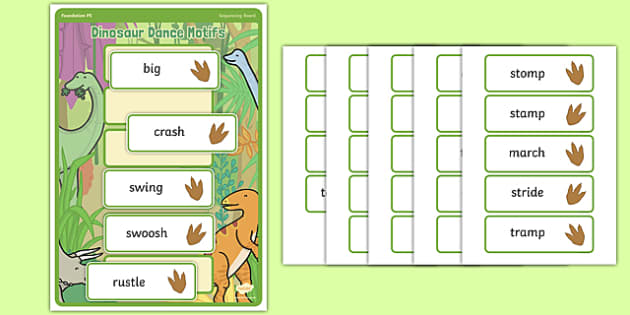 Dinosaur Dance Motif Sequencing Board - Eyfs, physical development, movement, actions