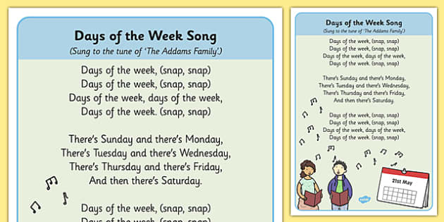 Days Of The Week Song Sheet - singing, songs, day, rhymes, rhyme