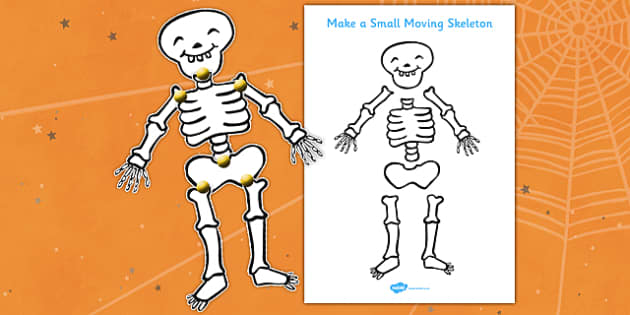 Make a Small Moving Skeleton Cutting Activity to Support Teaching on Funnybones - skeleton, halloween