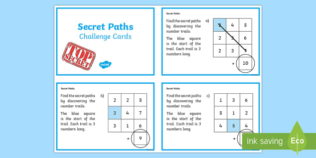 Secret Addition Number Paths Challenge Cards - adding, numeracy