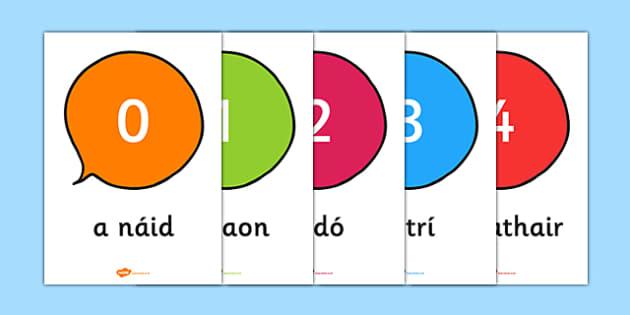 Irish Numbers 0 to 20 - ireland, maths, display, visual aid, support, numerical, order, ones, twenty, , Gaeilge