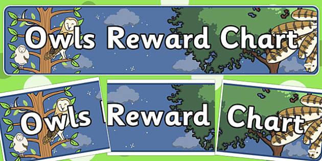 Owls Reward Chart Display Banner - owls, reward chart, display banner