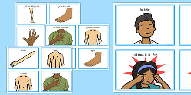 Parts Of The Body Communication Cards French - pain, ouch, injury, MFL, body, ourselves, me, hurt, French, France, Francais