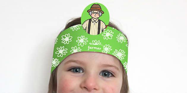 The Farmer's in His Den Role Play Headbands - role-play, farmer