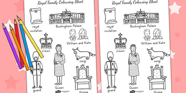 Royal Family Words Colouring Sheet - royality, queen elizabeth
