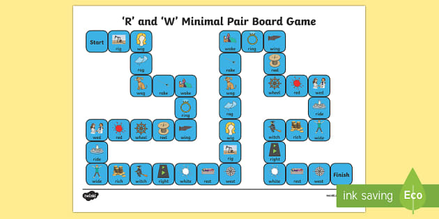 'r' and 'w' Minimal Pair Board Game - gliding, liquid simplification, liquids, phonology, speech sounds, articulation, dyspraxia