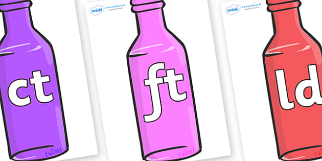 Final Letter Blends on Bottles - Final Letters, final letter, letter blend, letter blends, consonant, consonants, digraph, trigraph, literacy, alphabet, letters, foundation stage literacy