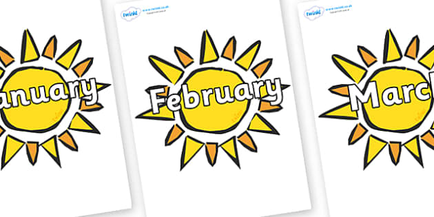 Months of the Year on The Sun - Months of the Year, Months poster, Months display, display, poster, frieze, Months, month, January, February, March, April, May, June, July, August, September
