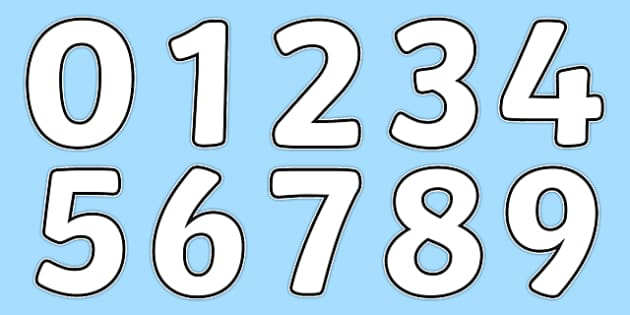 Blank A4 Display Numbers - numbers, display numbers, display