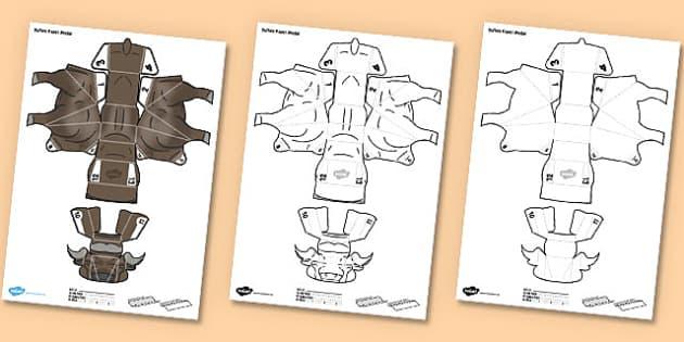 3D Buffalo Paper Model Activity - paper craft, display, making, design, technology, topic, safari, nature, science, wildlife, animals