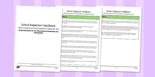 Grade Descriptors for The Effectiveness of leadership and Management Descriptors Ofsted September 2015 - inspection, slt, assessment, progress, monitoring