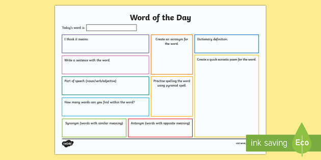 Word Of The Day Activity Sheet Vocabulary Literacy Language
