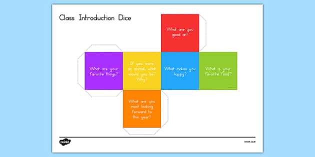 Class Introduction Question Dice Game