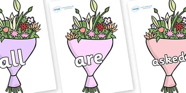 Tricky Words on Bouquets - Tricky words, DfES Letters and Sounds, Letters and sounds, display, words