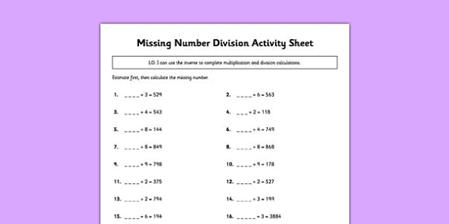 Missing Number Division Activity Sheet - missing number, division, activity, sheet, worksheet