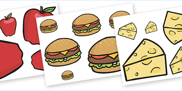 Food Size Ordering Activity - food size ordering, food size ordering activity, food, food ordering, cut out food, size ordering, size, ordering