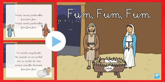 La canción fum, fum, fum Presentación - Christmas Spain, Navidad, navidades, reyes, festividades, cantar, canción,Spanish