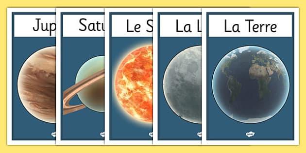 Planets Display Posters French - planets display posters french, french, france, francais, solar system, display, banner, sign, poster, solar, system, pluto, venus, planets, mercury, planet