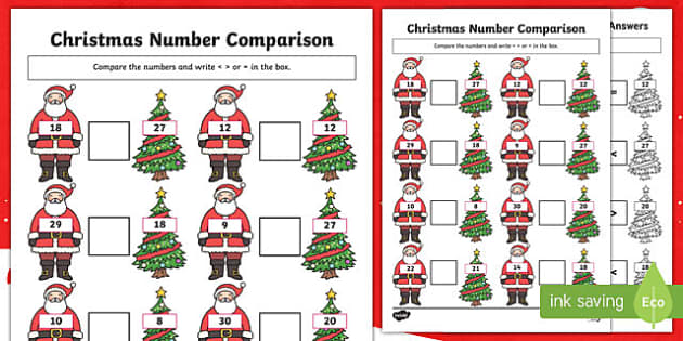 Christmas Themed up to 30 Number Comparison Activity Sheet