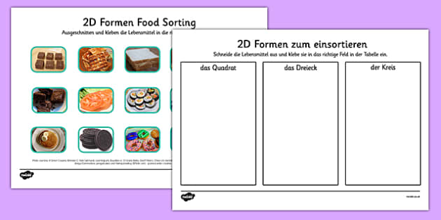 2D-Formen Lebensmittel Sortierung German - german, food, 2d shape, sorting, activity