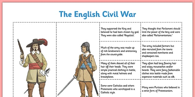 The English Civil War Cavaliers and Roundheads - Puritan, Catholic, Charles I, Oliver Cromwell, Royalist, Parliamentarian