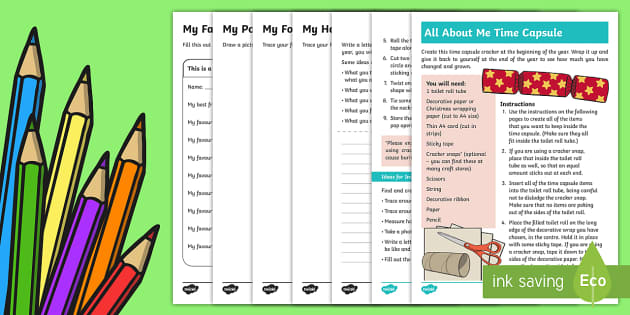 All About Me Time Capsule Christmas Cracker Activities and Craft Instructions - New Zealand, Back to School,All about me,time capsule,growth,beginning of year,first week back,start