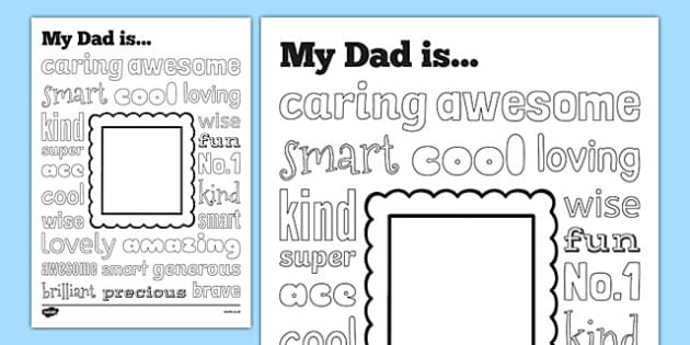 Fathers Day Describing Words Drawing and Colouring Sheet - colour