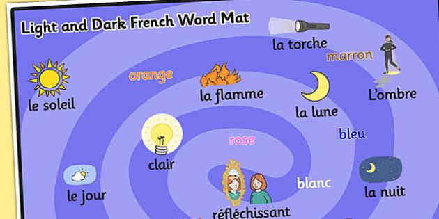 Light and Dark KS1 Word Mat French - Light, Dark, Word, French
