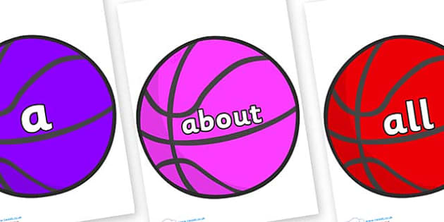 100 High Frequency Words on Basketballs - High frequency words, hfw, DfES Letters and Sounds, Letters and Sounds, display words