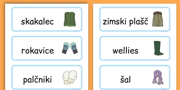 Winter Clothes Word Cards - winter clothes, word cards, winter, clothes - Slovenian