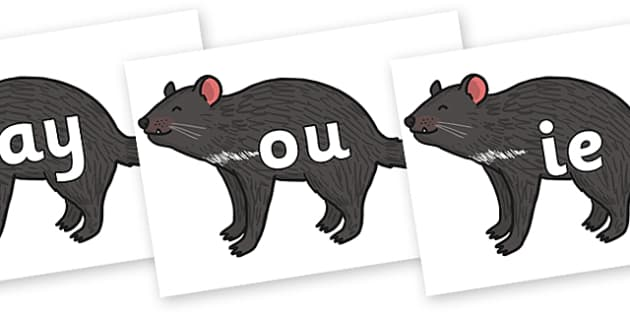 Phase 5 Phonemes on Tasmanian Devil - Phonemes, phoneme, Phase 5, Phase five, Foundation, Literacy, Letters and Sounds, DfES, display