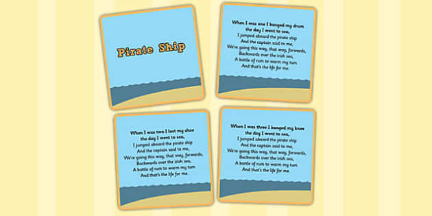 Pirate Ship Counting Song Sequencing Cards - Pirate, Song, Count, Ship