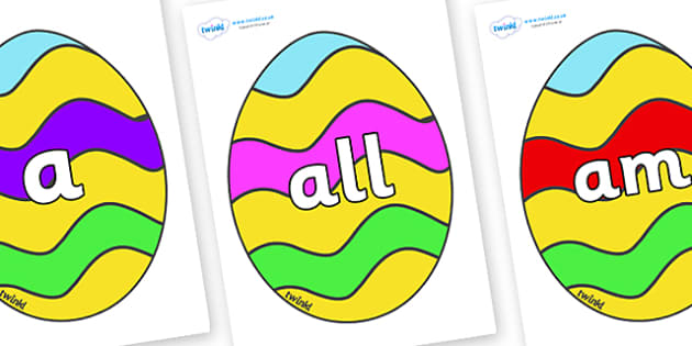 Foundation Stage 2 Keywords on Easter Eggs (Striped) - FS2, CLL, keywords, Communication language and literacy,  Display, Key words, high frequency words, foundation stage literacy, DfES Letters and Sounds, Letters and Sounds, spelling