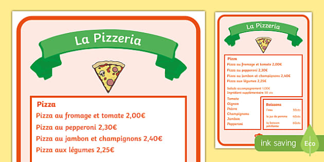 Pizza Parlour Role Play Menu French  - Pizza Parlour Role Play Pack, pizza, play, acting, drama, restaurant, fast, food, hut, express, eati