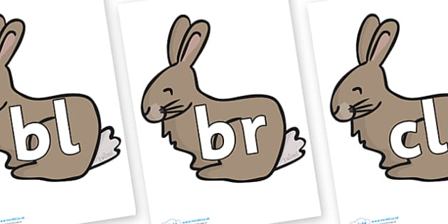 Initial Letter Blends on Rabbits - Initial Letters, initial letter, letter blend, letter blends, consonant, consonants, digraph, trigraph, literacy, alphabet, letters, foundation stage literacy