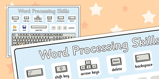 Word Processing Skills Display Poster - Word, Skills, Posters